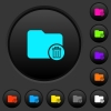 Delete directory dark push buttons with color icons - Delete directory dark push buttons with vivid color icons on dark grey background