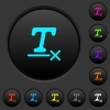 Clear text format dark push buttons with color icons - Clear text format dark push buttons with vivid color icons on dark grey background