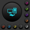 Shared computer dark push buttons with color icons - Shared computer dark push buttons with vivid color icons on dark grey background