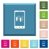 Mobile broker white icons on edged square buttons - Mobile broker white icons on edged square buttons in various trendy colors