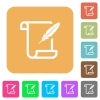 Paper scroll with feather rounded square flat icons - Paper scroll with feather flat icons on rounded square vivid color backgrounds.