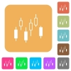Candlestick chart rounded square flat icons - Candlestick chart flat icons on rounded square vivid color backgrounds.