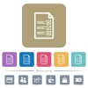 Questionnaire document flat icons on color rounded square backgrounds - Questionnaire document white flat icons on color rounded square backgrounds. 6 bonus icons included