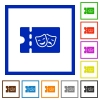 Theater discount coupon flat framed icons - Theater discount coupon flat color icons in square frames on white background