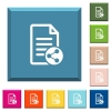 Share document white icons on edged square buttons - Share document white icons on edged square buttons in various trendy colors