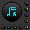Scroll with certificate on right dark push buttons with color icons - Scroll with certificate on right dark push buttons with vivid color icons on dark grey background