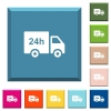 24 hour delivery truck white icons on edged square buttons - 24 hour delivery truck white icons on edged square buttons in various trendy colors