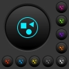 Grouping elements dark push buttons with color icons - Grouping elements dark push buttons with vivid color icons on dark grey background