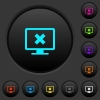 Cancel display settings dark push buttons with color icons - Cancel display settings dark push buttons with vivid color icons on dark grey background