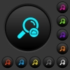 Cloud search dark push buttons with color icons - Cloud search dark push buttons with vivid color icons on dark grey background