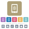Mobile fingerprint identification flat icons on color rounded square backgrounds - Mobile fingerprint identification white flat icons on color rounded square backgrounds. 6 bonus icons included