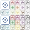 Yen pay back color flat icons in rounded square frames. Thin and thick versions included. - Yen pay back outlined flat color icons