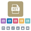 Private key file of SSL certification flat icons on color rounded square backgrounds - Private key file of SSL certification white flat icons on color rounded square backgrounds. 6 bonus icons included