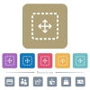 Drag object flat icons on color rounded square backgrounds - Drag object white flat icons on color rounded square backgrounds. 6 bonus icons included