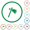 Single tomahawk flat icons with outlines - Single tomahawk flat color icons in round outlines on white background