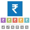 Indian Rupee sign flat white icons in square backgrounds. 6 bonus icons included. - Indian Rupee sign flat white icons in square backgrounds