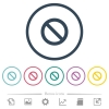 Blocked flat color icons in round outlines. 6 bonus icons included. - Blocked flat color icons in round outlines