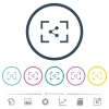 Camera share image flat color icons in round outlines - Camera share image flat color icons in round outlines. 6 bonus icons included.