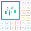 Candlestick chart flat color icons with quadrant frames - Candlestick chart flat color icons with quadrant frames on white background