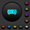 Video projector dark push buttons with color icons - Video projector dark push buttons with vivid color icons on dark grey background