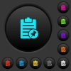 Note pin dark push buttons with vivid color icons on dark grey background - Note pin dark push buttons with color icons