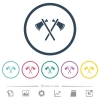 Two tomahawks flat color icons in round outlines - Two tomahawks flat color icons in round outlines. 6 bonus icons included.