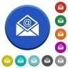 Open mail with email symbol beveled buttons - Open mail with email symbol round color beveled buttons with smooth surfaces and flat white icons