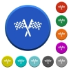 Two chequered flags beveled buttons - Two chequered flags round color beveled buttons with smooth surfaces and flat white icons