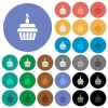 Birthday cupcake round flat multi colored icons - Birthday cupcake multi colored flat icons on round backgrounds. Included white, light and dark icon variations for hover and active status effects, and bonus shades.