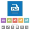 PSD file format flat white icons in square backgrounds. 6 bonus icons included. - PSD file format flat white icons in square backgrounds