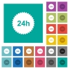 24h sticker square flat multi colored icons - 24h sticker multi colored flat icons on plain square backgrounds. Included white and darker icon variations for hover or active effects.
