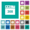 Browser 308 Permanent Redirect square flat multi colored icons - Browser 308 Permanent Redirect multi colored flat icons on plain square backgrounds. Included white and darker icon variations for hover or active effects.