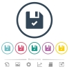 File ok flat color icons in round outlines - File ok flat color icons in round outlines. 6 bonus icons included.