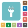 Air control tower rounded square flat icons - Air control tower white flat icons on color rounded square backgrounds