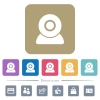 Webcam flat icons on color rounded square backgrounds - Webcam white flat icons on color rounded square backgrounds. 6 bonus icons included