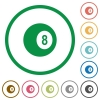 Black eight billiard ball flat color icons in round outlines on white background - Black eight billiard ball flat icons with outlines