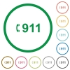 Emergency call 911 flat icons with outlines - Emergency call 911 flat color icons in round outlines on white background