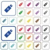 Wireless usb stick outlined flat color icons - Wireless usb stick color flat icons in rounded square frames. Thin and thick versions included.