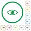Eye flat color icons in round outlines on white background - Eye flat icons with outlines