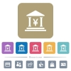 Yen bank office flat icons on color rounded square backgrounds - Yen bank office white flat icons on color rounded square backgrounds. 6 bonus icons included