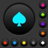 Spades card symbol dark push buttons with color icons - Spades card symbol dark push buttons with vivid color icons on dark grey background
