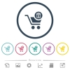 Delete from cart flat color icons in round outlines - Delete from cart flat color icons in round outlines. 6 bonus icons included.