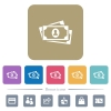 More banknotes with portrait flat icons on color rounded square backgrounds - More banknotes with portrait white flat icons on color rounded square backgrounds. 6 bonus icons included