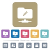FTP edit flat icons on color rounded square backgrounds - FTP edit white flat icons on color rounded square backgrounds. 6 bonus icons included