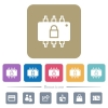 Hardware locked flat icons on color rounded square backgrounds - Hardware locked white flat icons on color rounded square backgrounds. 6 bonus icons included
