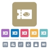 Paint shop discount coupon flat icons on color rounded square backgrounds - Paint shop discount coupon white flat icons on color rounded square backgrounds. 6 bonus icons included