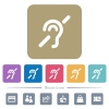 Hearing impaired flat icons on color rounded square backgrounds - Hearing impaired white flat icons on color rounded square backgrounds. 6 bonus icons included