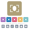 Camera selfie mode flat icons on color rounded square backgrounds - Camera selfie mode white flat icons on color rounded square backgrounds. 6 bonus icons included