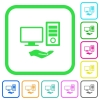 Shared computer vivid colored flat icons - Shared computer vivid colored flat icons in curved borders on white background