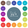 Candlestick graph with axes flat white icons on round color backgrounds - Candlestick graph with axes flat white icons on round color backgrounds. 17 background color variations are included.